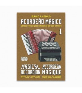 Livro Eurico Cebolo ACM 1 Método Acordeão Mágico no 1 com CD Kit