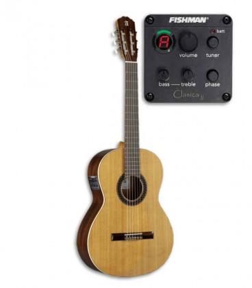 Foto da guitarra clássica Alhambra 1C EZ e do pré-amplificador