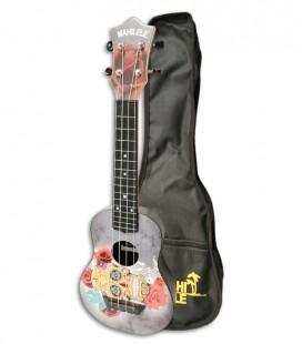 Foto do ukulele Mahilele ML3-004 Soprano Skull com o saco
