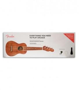 Pack Ukulele Fender Soprano Seaside Natural Saco Cordas Afinador