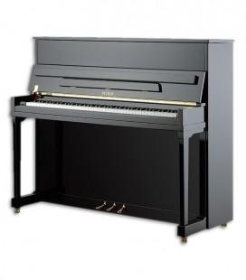 Foto do Piano Vertical Petrof modelo P122 H1 Higher Series de frente em três quartos