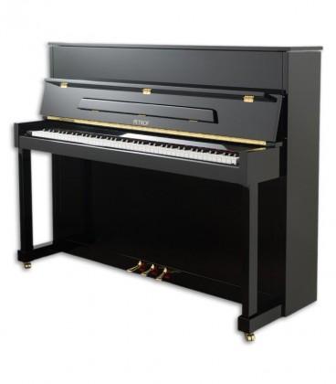Foto do Piano Vertical Petrof modelo P122 N2 Higher Series de frente e em três quartos