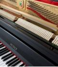Foto do teclado e da mecânica do Piano Vertical Petrof P122 N2