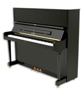 Foto do Piano Vertical Petrof modelo P125 F1 da Higher Series e frente e em três quartos