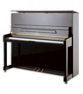 Foto do Piano Vertical Petrof modelo P125 M1 da Higher Series de frente e em três quartos
