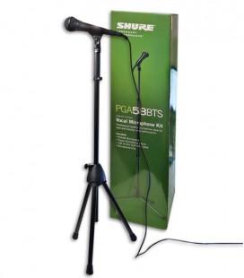 Foto do microfone Shure modelo PGA 58 BTS com cabo, suporte e pinça