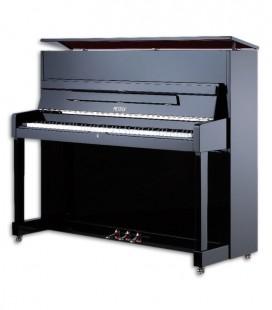 Foto do Piano Vertical Petrof modelo P118 M1 da Middle Series de frente e em três quartos