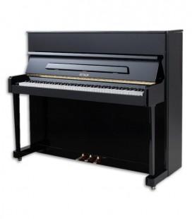 Foto do Piano Vertical Petrof modelo P118 P1 da Middle Series de frente e em três quartos