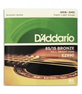 Jogo de Cordas DAddario EZ890 009 Guitarra Ac炭stica Phosphor Bronze
