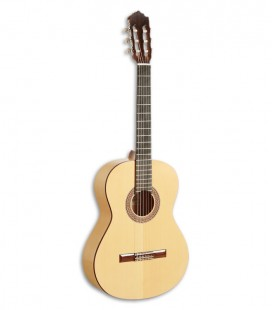 Foto da guitarra flamenca Paco Castillo modelo 211 F de frente e em três quartos