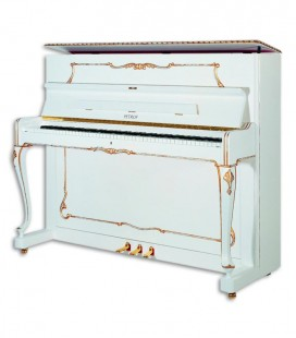 Foto do Piano Vertical Petrof modelo P118 R1 da Style Collection de frente e três quartos