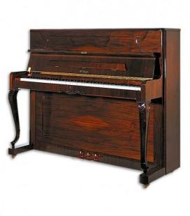 Foto do Piano Vertical Petrof modelo P118 C1 da Style Collection de frente e em três quartos