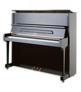 Foto do Piano Vertical Petrof modelo P125 G1 da Higher Series de frente e em três quartos
