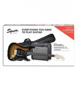 Pack Fender Squier Affinity Stratocaster HSS Amplificador 15G Acessórios Brown Sunburst