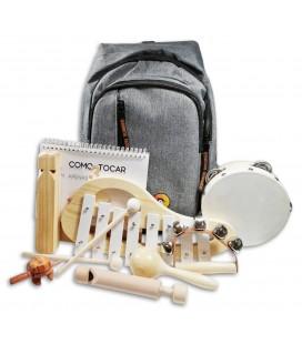 Foto da mochila e dos 7 instrumentos musicais do Conjunto de Percussão Penguin Infantil