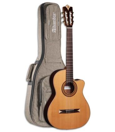 Foto da Guitarra Ac炭stica Alhambra modelo CS 1 CW E1 Equalizador Crossover Nylon com o Saco