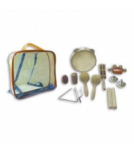 Foto dos instrumentos e mala do kit de percussão Honsuy 46550