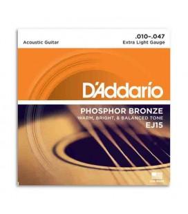 Jogo de Cordas Daddário EJ15 010 para Guitarra Acústica Phosphor Bronze