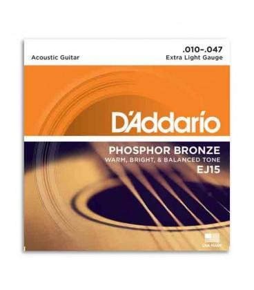 Jogo de Cordas DAddario EJ15 010 para Guitarra Ac炭stica Phosphor Bronze