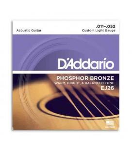 Jogo de Cordas DAddario EJ26 011 para Guitarra Ac炭stica Phosphor Bronze