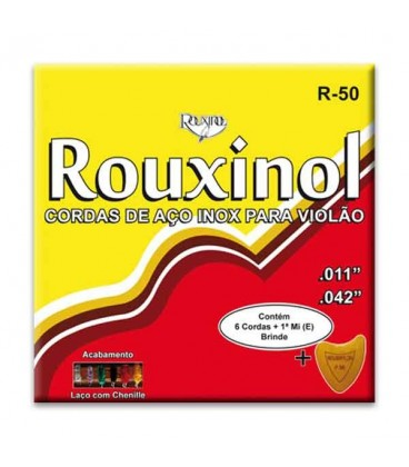 Jogo de Cordas Rouxinol R50 Inox com Asa para Guitarra Ac炭stica A巽o
