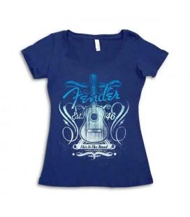 T shirt Fender Azul Marinho This Is Sound Senhora Tamanho L