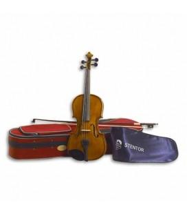 Foto do violino Stentor Student II com o arco e estojo