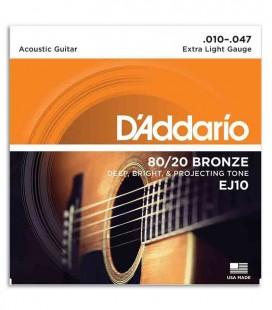 Jogo de Cordas DAddario EJ10 para Guitarra Ac炭stica Bronze 010