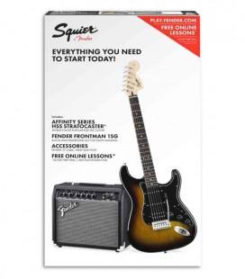 Pack Fender Squier Affinity Stratocaster Amplificador 15G Acessórios Brown Sunburst