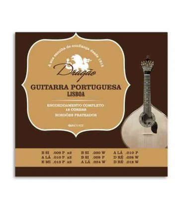 Embalagem do jogo de cordas Drag達o 003 para guitarra portuguesa