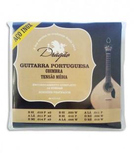 Jogo de Cordas Drag達o Guitarra Portuguesa Afina巽達o Coimbra Tens達o M辿dia A巽o Inoxid叩vel